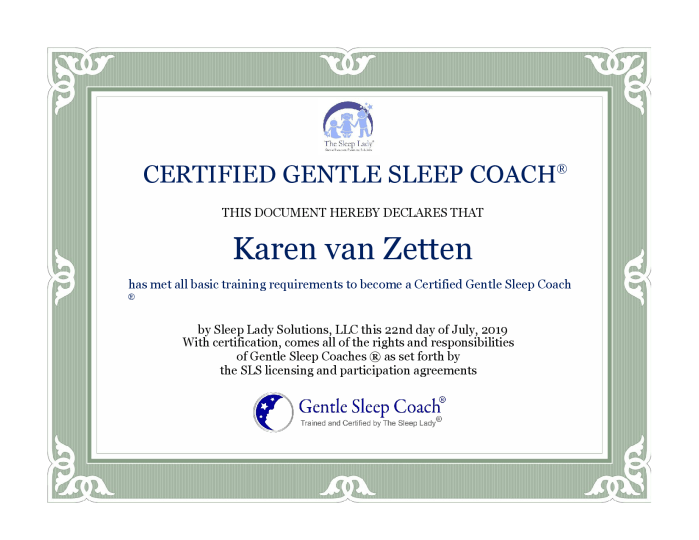 Certificate Gentle Sleep Coach