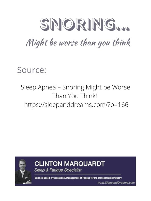 Snoring.....might be worse than you think....