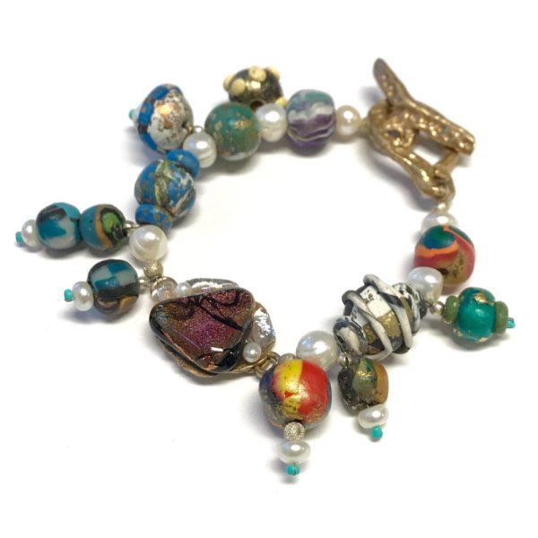 Sleepin' Dog   Bronze Toggle Bracelet With Dicroic Stones And Pearls