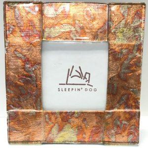 Sleepin' Dog | Large Copper Foil Fused Glass Picture Frame