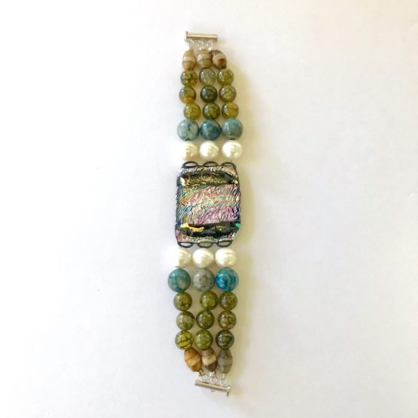 Sleepin' Dog | Assorted Bead Bracelet With Dichroic Center Piece