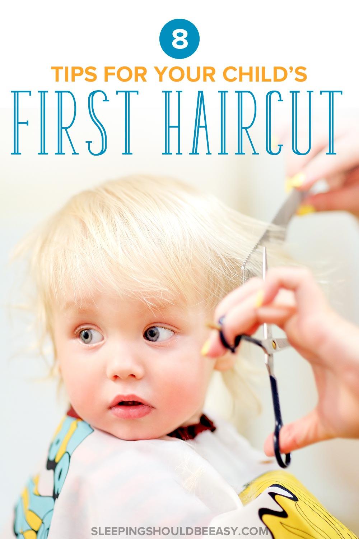 Child's first haircut at a salon