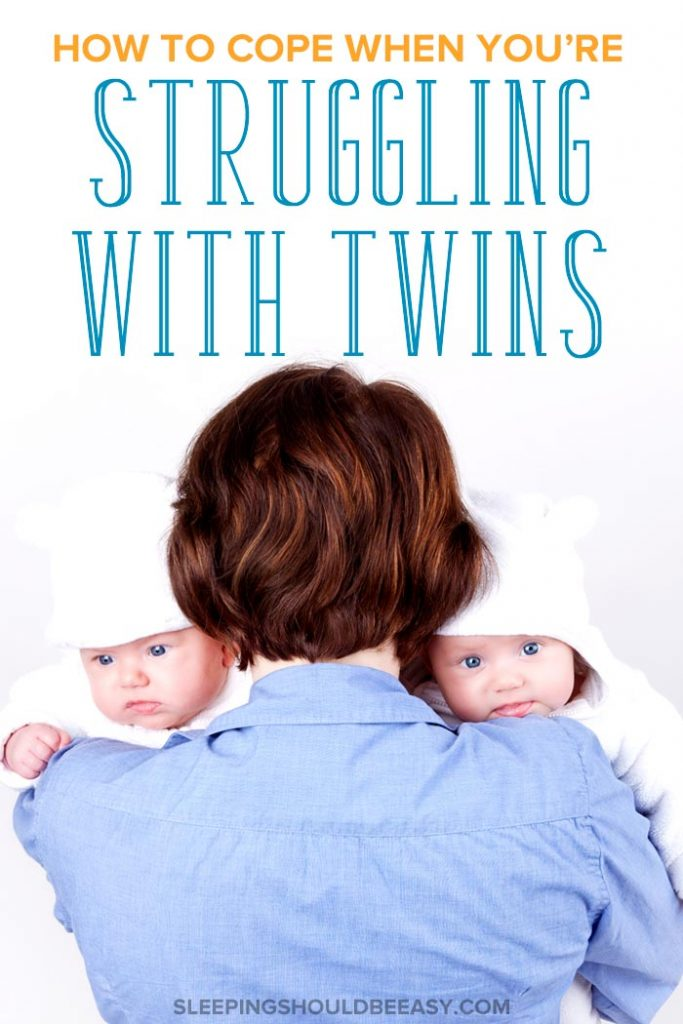 A mother struggling and coping with twins