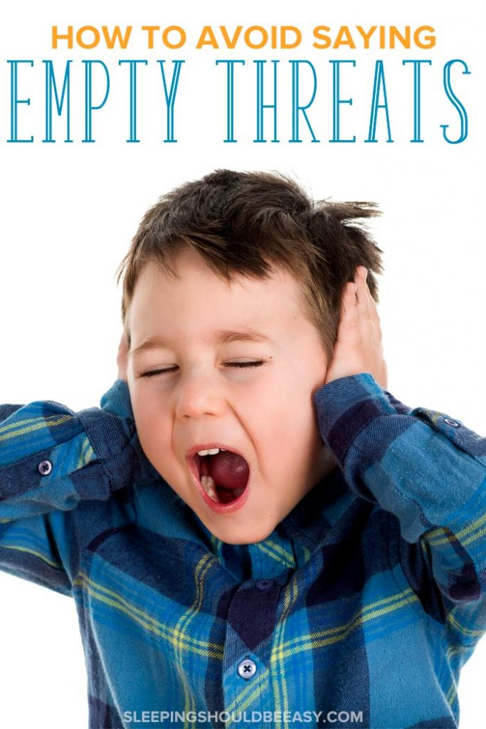 A 5 year old boy screaming and covering ears, not listening to empty threats