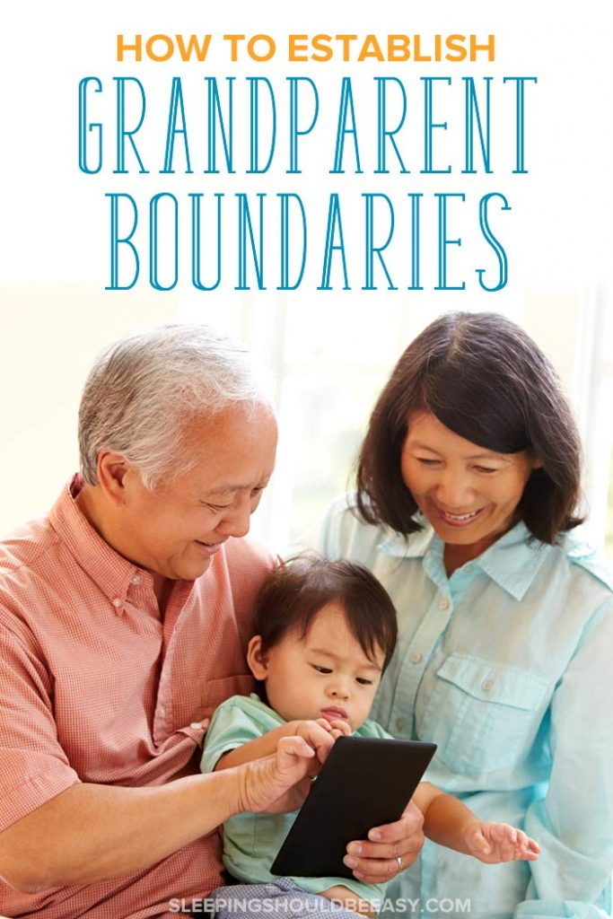 Grandparents showing a toddler how to use an iPad: Grandparent boundaries