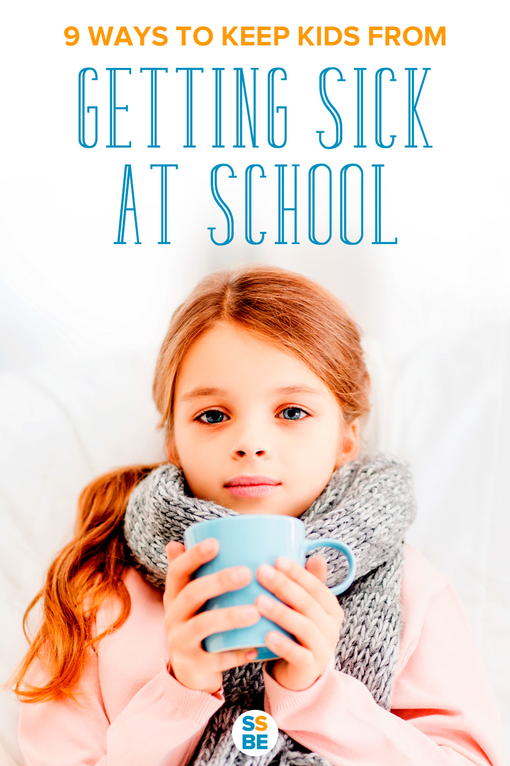 Young girl sick in bed from school