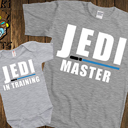 Father's Day gift idea: Jedi master and Jedi-in-training t-shirt and onesie set for the Star Wars fan