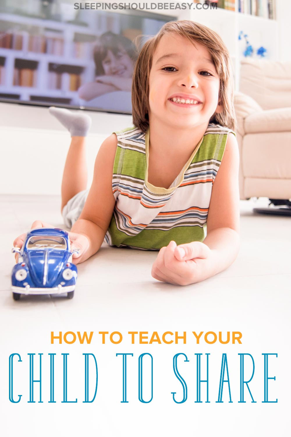 Little boy sharing his blue car: How to teach toddlers to share