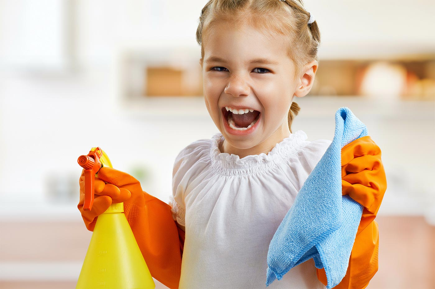 Little girl excited to do chores