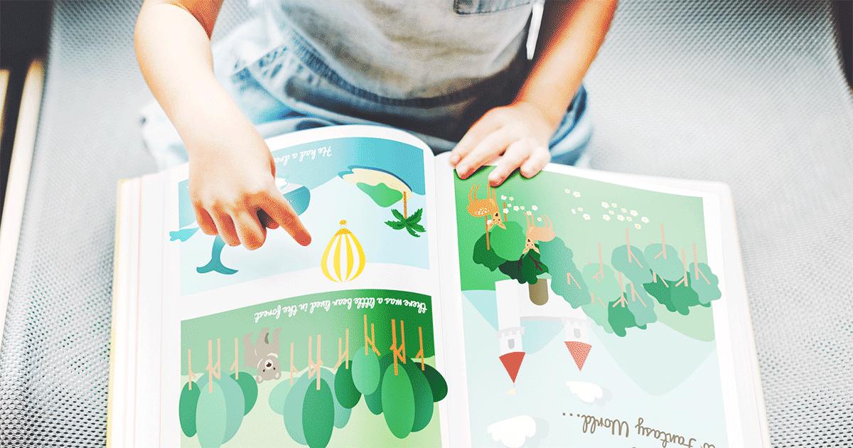 Child reading a children's book