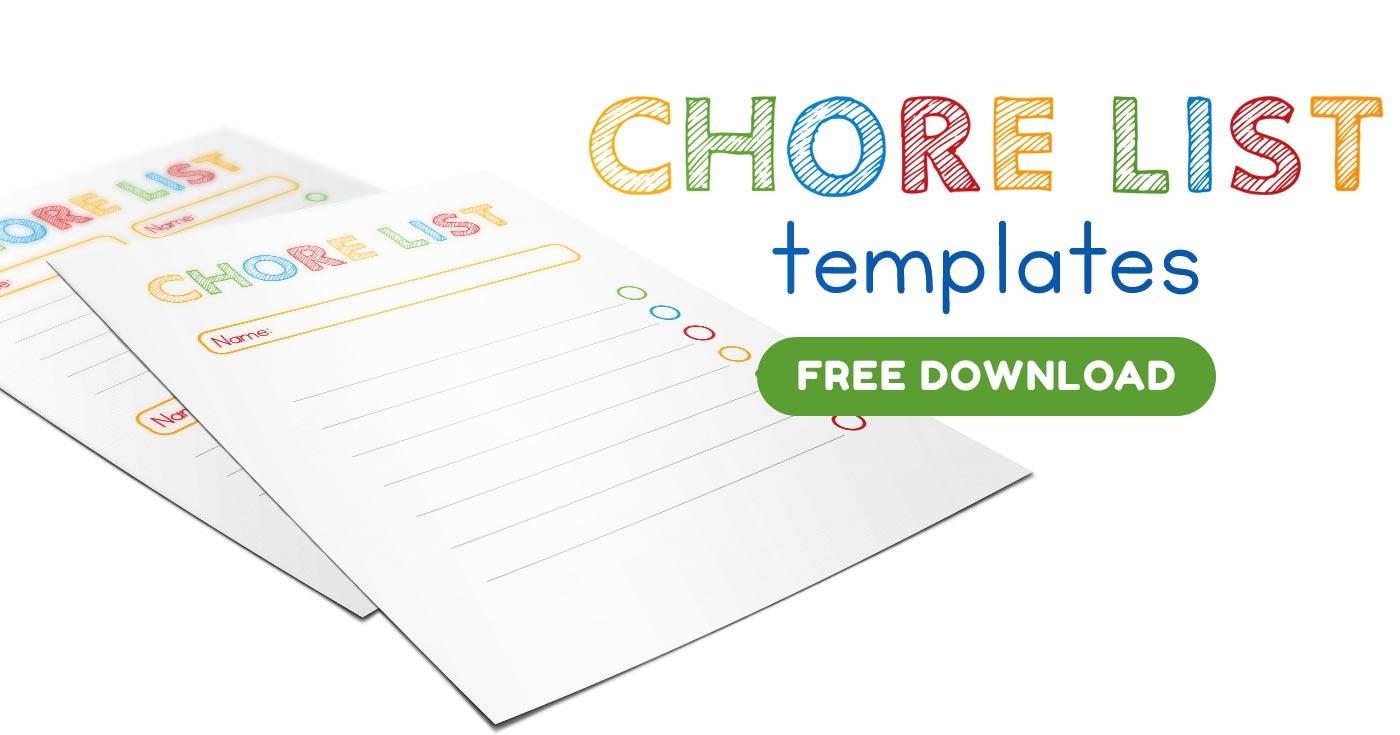 Free printable chore list templates
