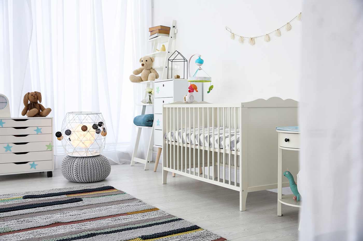Nursery room with crib