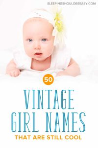 Baby girl lying tummy time on a white bed: 50 vintage girl names that are still cool