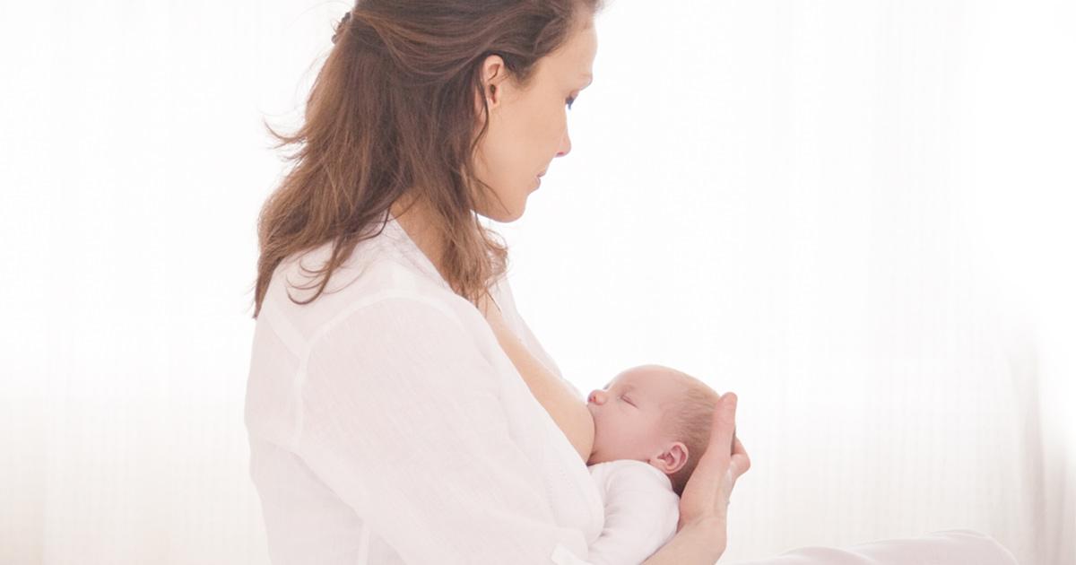 A baby breastfeeding