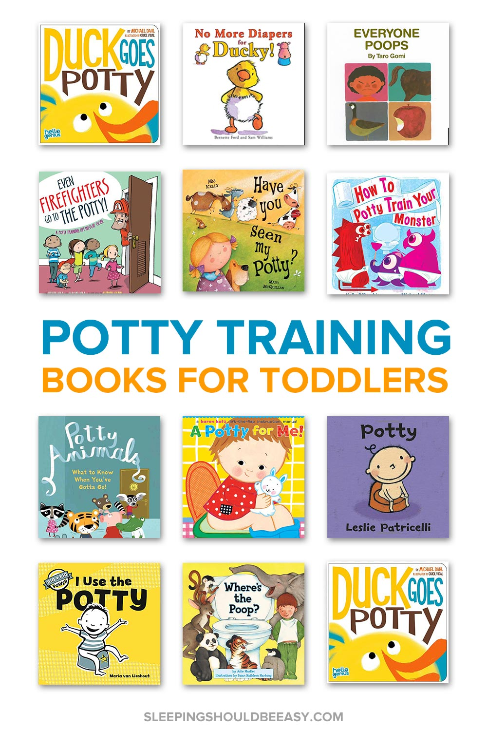 A collection of potty training books for toddlers