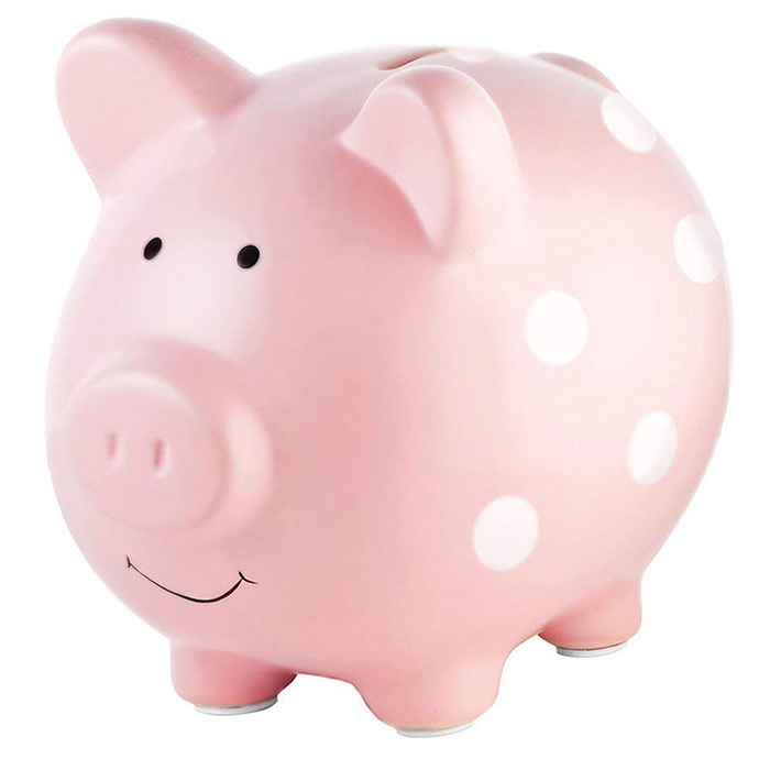 Pearhead Ceramic Pink Piggy Bank