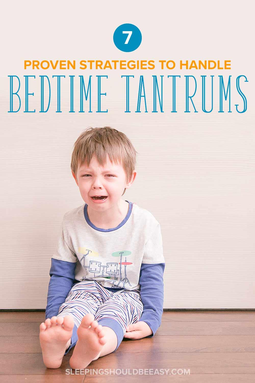 Little boy throwing toddler tantrums at bedtime
