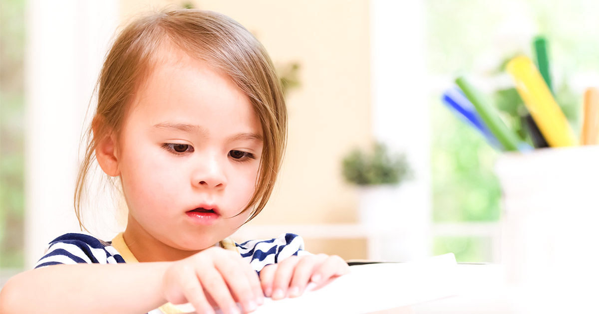 Girl doing learning activities