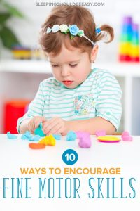 Little girl playing with play dough to develop fine motor skills for 5 year olds