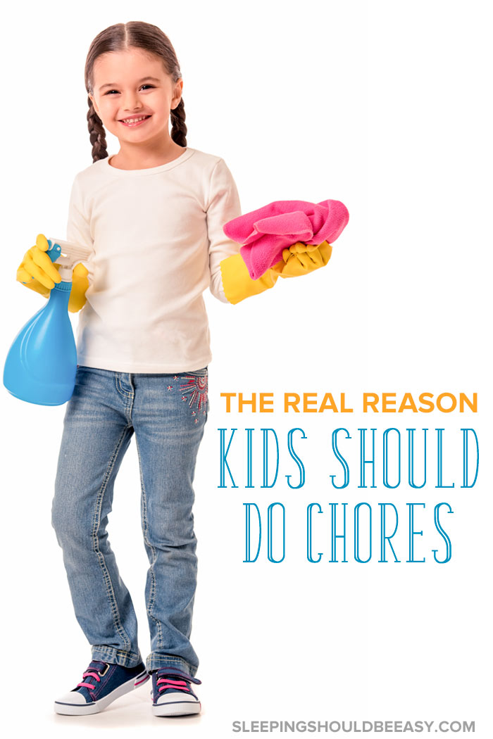 Should Kids Have Chores? Little girl doing chores