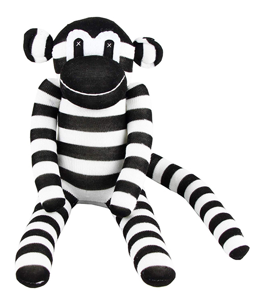 Black and White Baby Toy of a Traditional Sock Monkey