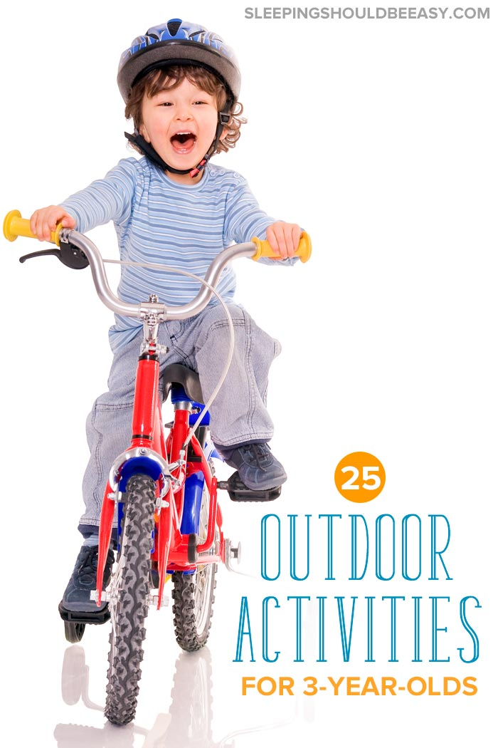 Outdoor activities for 3 year olds: Little boy riding a tricycle