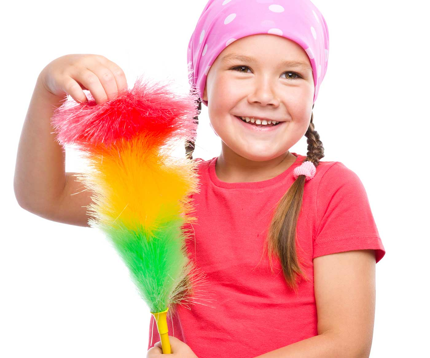 How to get kids to do chores: Little girl holding cleaning supplies