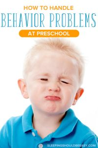 Little boy pouting from 3 year old behavior problems at preschool