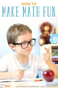 Little boy counting with fingers, learning how to make math fun