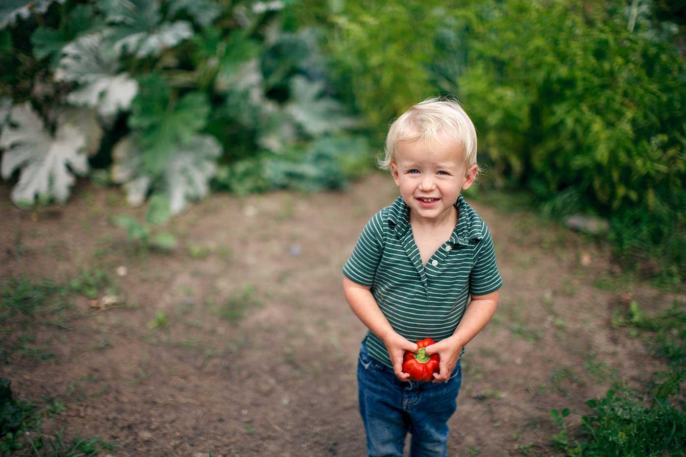 Little boy outside in a garden