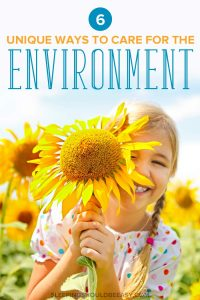 Little girl with a sunflower, learning ways to care for the environment