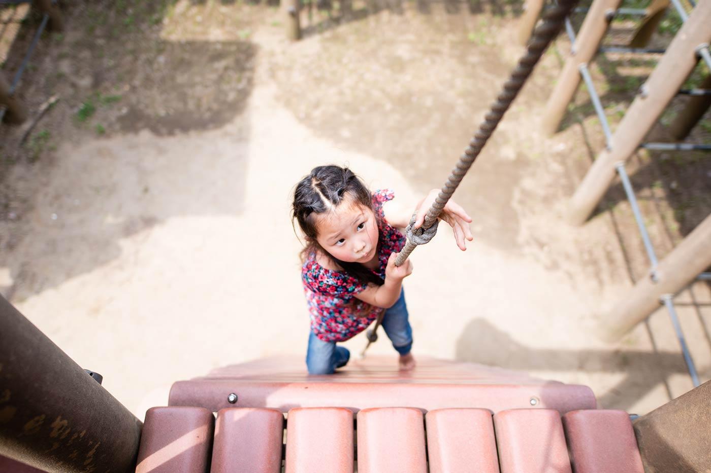 little girl climbing