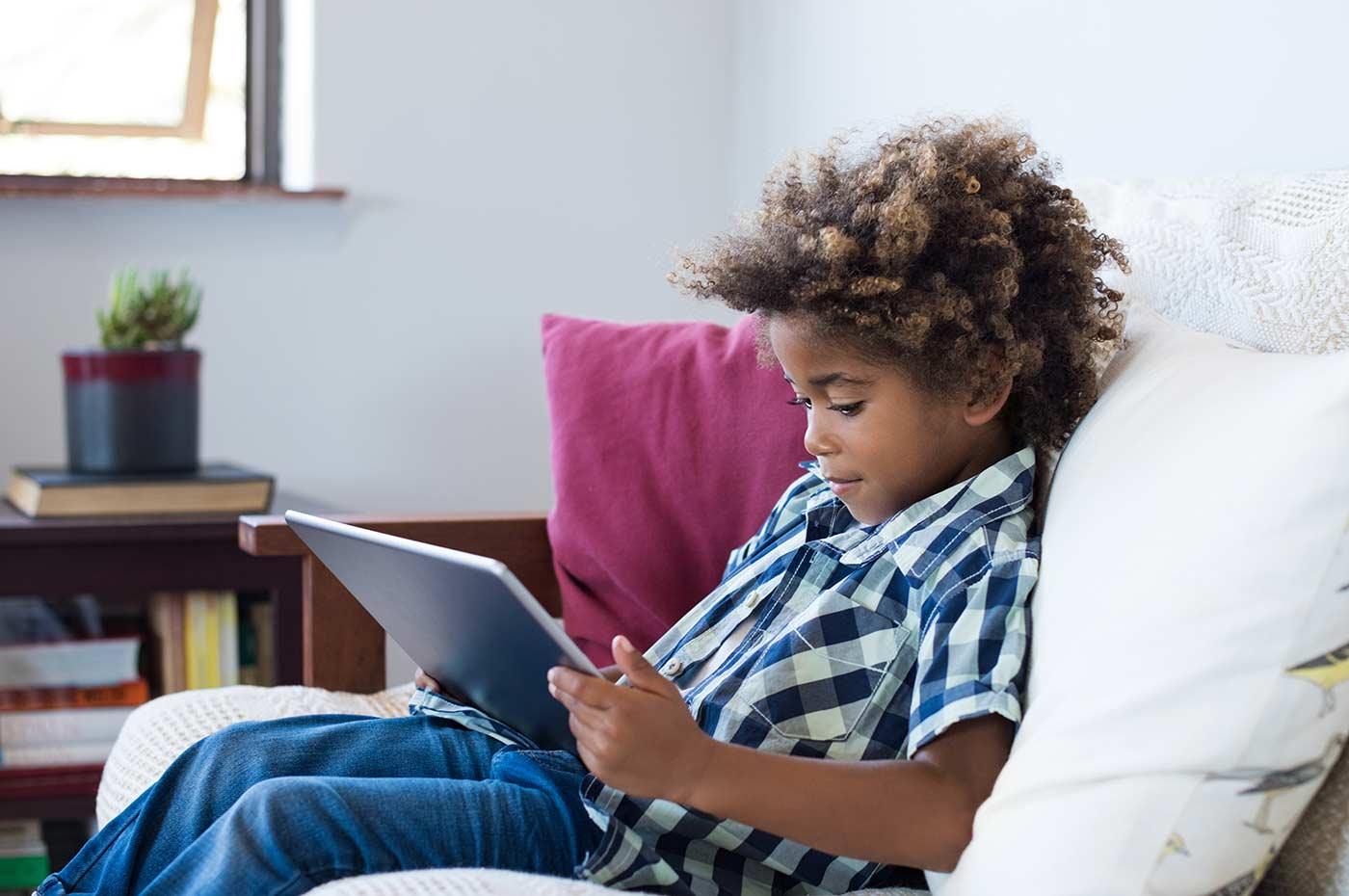 Little boy on a tablet