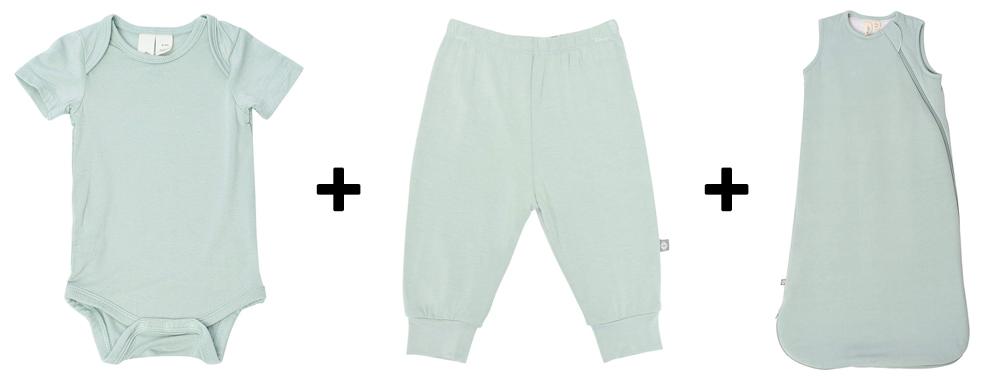 bodysuit, pants, and sleep bag