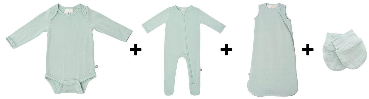 long-sleeve bodysuit, footed pajamas, sleep bag, and mittens
