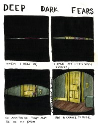 1. Quand je me réveille 2. j'ouvre mes yeux très lentement 3. afin que quoi que ce soit qui soit dans ma chambre 4. ait une chance de se cacher