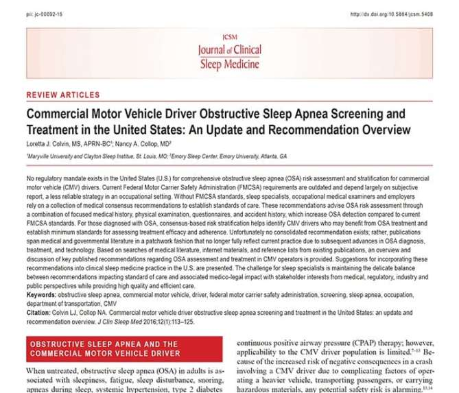 Journal of Clinical Sleep Medicine Commercial Driver and OSA
