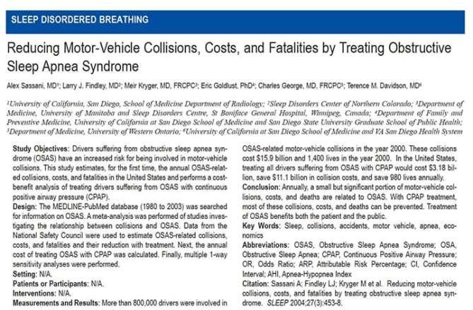 Reducing motor-vehicle collisions, costs and fatalities by treating Sleep Apnea