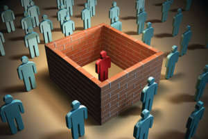 Some brick walls isolate a different individual from other people. Digital illustration.