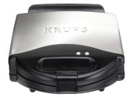 KRUPS F654 4-Slice Belgian Waffle Maker with Nonstick Plates LED Indicators and Stainless Steel Housing, Silver
