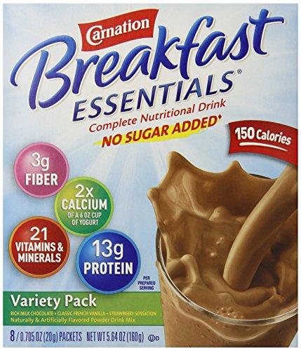 Carnation Instant Breakfast No Sugar Added, Variety Pack, 8pk