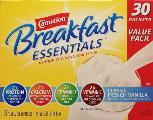 Carnation Breakfast Essentials Complete Nutritional Drink, French Vanilla 30 Pack, 2.38 Pound Total