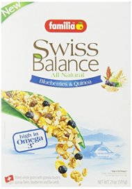 Familia All Natural Swiss Balance Blueberries & Quinoa Cereal, 21-Ounce Boxes (Pack of 6)