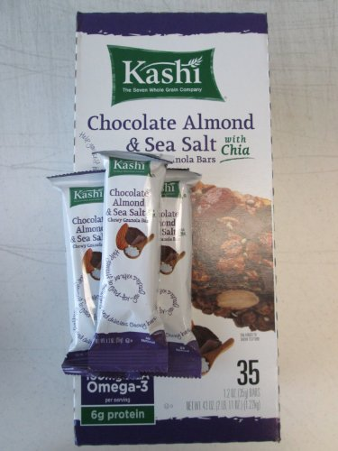 Kashi Chocolate Almond & Sea Salt with Chia Chewy Granola Bars. Total 35 Bars of 1.2 Oz Each