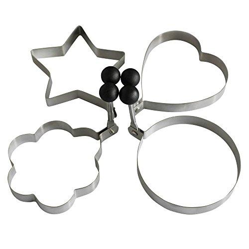 4-Style High Quality Stainless Steel Omelette Egg Ring Pancake Round Mold Omelette Mould Pancake Mold(Set of 4 shape-Heart Star Round Flower Shape)