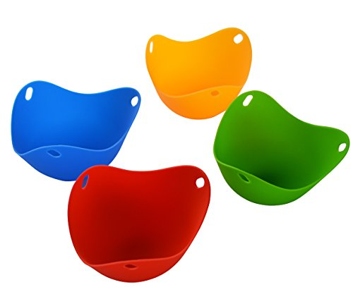 Bekith Set of 4 Silicone Egg Poach Pods in Bright Colorful