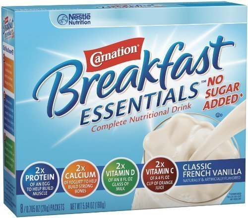 Nestle Carnation Instant Breakfast Essentials, No Sugar Added Classic French Vanilla Powder, 8-Count Envelopes (Pack of 8)