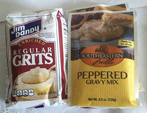 Jim Dandy Regular Grits 2 Lb Package with 3 Packages Peppered Gravy Mix