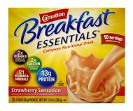 Carnation Instant Breakfast Essentials, Strawberry, 10 Count Box, 1.26-Ounce Packages (Pack of 3)