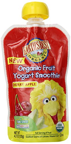 Earth's Best Organic Fruit Yogurt Smoothie, Cherry & Apple, 4.2 Ounce Pouch (Pack of 12)